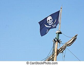 pirate flag that flies above the Corsair ship - black pirate...