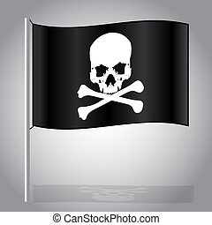 black pirate flag with skull and bones eps10