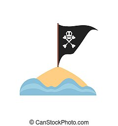 black pirate flag with skull bone sand sea