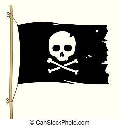 Black pirate flag with skull symbol.