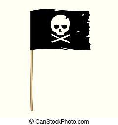 Black pirate flag with skull symbol