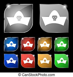 black pirate hat with skull and crossbones icon sign. Set of ten colorful buttons with glare. Vector