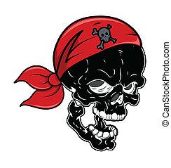 Black Pirate Skull - Vector Cartoon