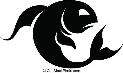 Black Pisces Zodiac Star Sign