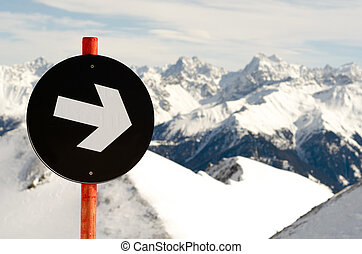 black piste - a black sign indicates the degree of ...