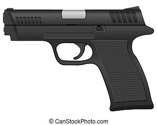 Black pistol on a white background. Vector illustration.