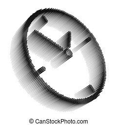 Black pixel icon-like image of clock