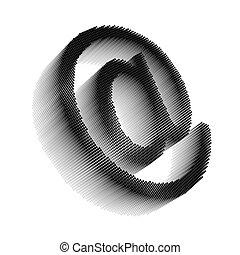 Black pixel icon-like image of email symbol