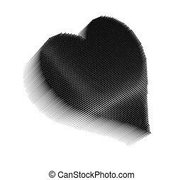 Black pixel icon-like image of heart