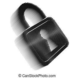 Black pixel icon-like image of padlock