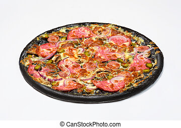 Black pizza with sausage, servelat and gherkins, pickles in white sauce with mozzarella cheese and mushrooms