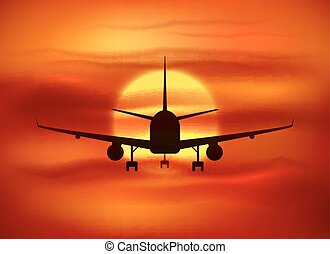 Black plane silhouette at red sunset background