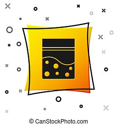 Black Plastic bag of medicinal cannabis icon isolated on white background. Health danger. Yellow square button. Vector Illustration