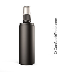 Black plastic bottle with spray on white background