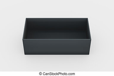 black plastic box tray high angle - black cardboard material...
