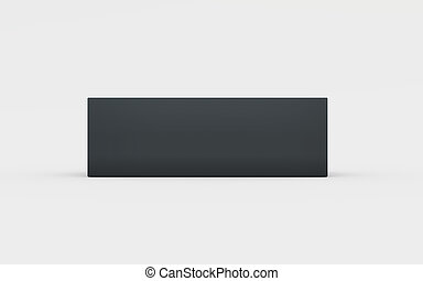 black plastic box tray side view - black cardboard material...