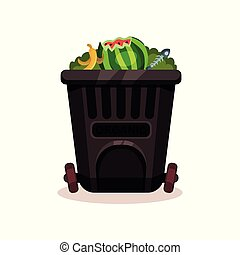 Black plastic container for organic waste. Peel of banana, watermelon and fish bones. Flat vector icon of garbage can with wheels