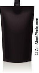 black , plastic, doypack, opstaan, zak, met, spout., soepel, verpakking, spotten, op, voor, voedingsmiddelen, of, drank