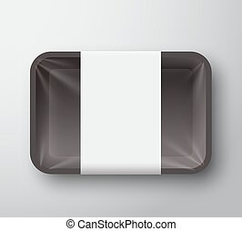 Black Plastic Food Tray Container with Transparent...
