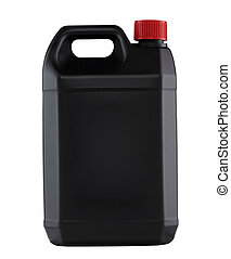 Black plastic gallon isolated
