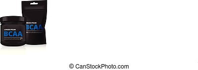 Black Plastic Jar and foil doy pack isolated on white...