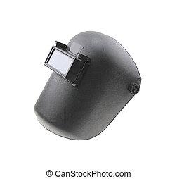 Black plastic protective welding mask helmet on white background
