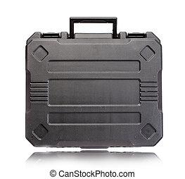 Black plastic tool box isolate on white background