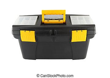 Black plastic tool box on white background.