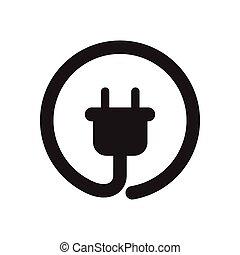 black , plat, pictogram, contactdoos, witte , macht