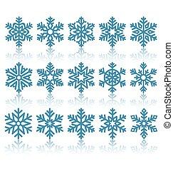 black , plat, snowflakes, iconen, met, reflectie, vrijstaand, op wit