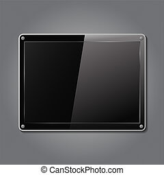 Black plate on a metal backgrond