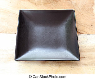 black plate on the table