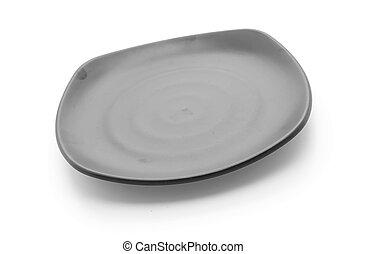 black plate on white