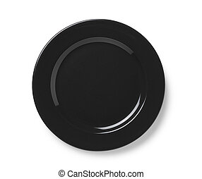 Black plate placed on a white background