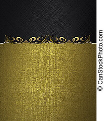 Black plate with gold ornate edges, on gold background.