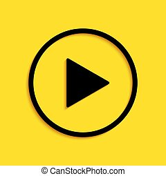Black Play icon isolated on yellow background. Long shadow style. Vector