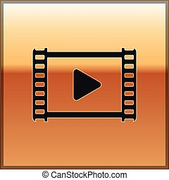 Black Play Video icon isolated on gold background. Film strip with play sign. Vector Illustration
