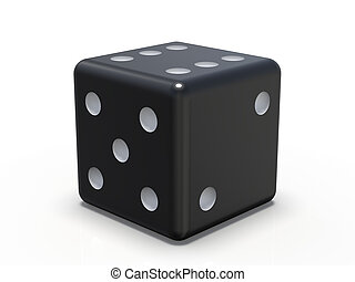 Black playing dice isolated on white background. 3D