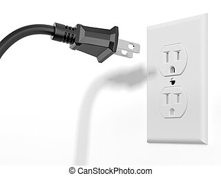 black plug and white socket isolated on a white background. ...