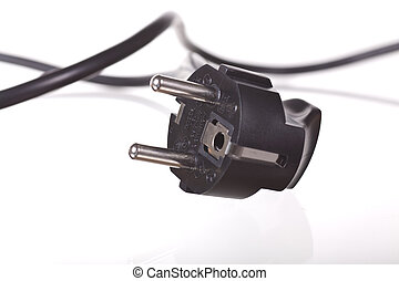 black plug over white background