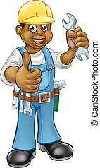 Black Plumber Mechanic or Handyman