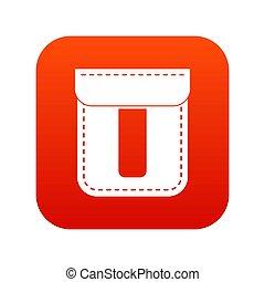 Black pocket icon digital red