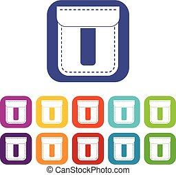Black pocket icons set flat