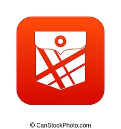 Black pocket patch icon digital red
