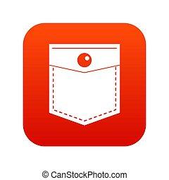 Black pocket symbol icon digital red