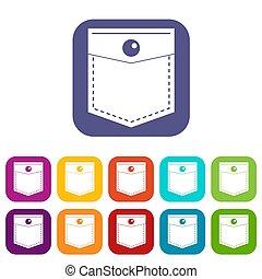 Black pocket symbol icons set flat