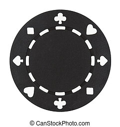 A black poker chip isolated on a white background