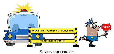 Black Police Man Holding