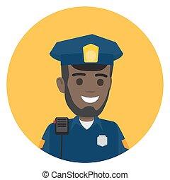 Black Police Officer with Radio Set on Shoulder - Black ...