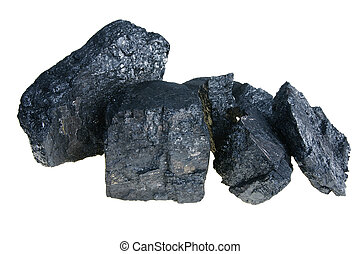 Black Polish coal - lump of black coal isolated on white